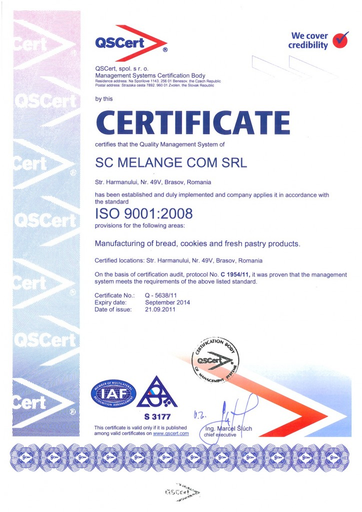 Certificat ISO 9000